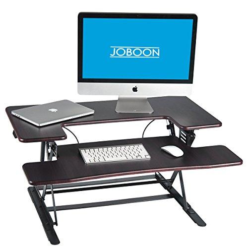JOBOON Standing Desk Converter, Height Adjustable Sit Stand Desktop Riser Computer Workstation (Walnut) (Pneumatic Workstation Sit Down)