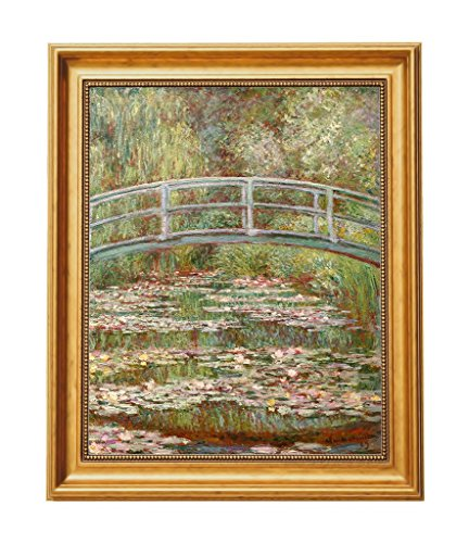 Eliteart-Bridge Over Water Lily Pond Claude Mone Giclee Art Canvas prints-Framed size:19