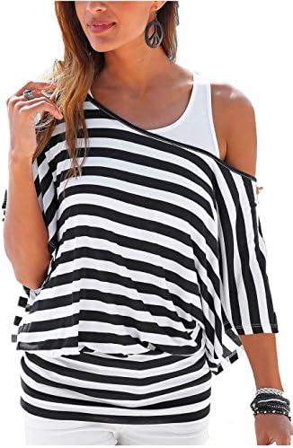Uniquestyle damska koszulka w paski lato z krÓtkim rękawem koszulka plażowa 2 w 1: Odzież