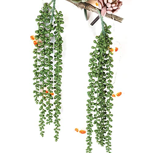 GOBRICK Summer Artificial Succulents Hanging Plants Fake String of Pearls Plant Succulents Unpotted Branch Lover's Tears Plants for Home,Garden Or Sitting Room Decoration