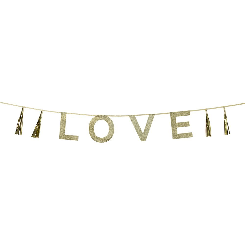 Talking Tables Say It with Glitter 'Love' Banner, 6.5 Ft. Multicolor
