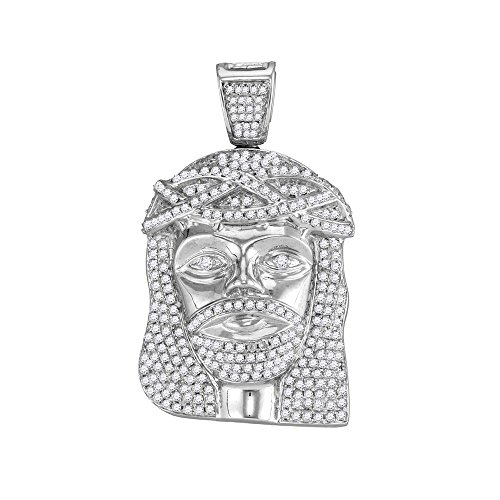 Roy Rose Jewelry 10K White Gold Mens Round Diamond Jesus Christ Head Charm Pendant 1-5/8-Carat ()