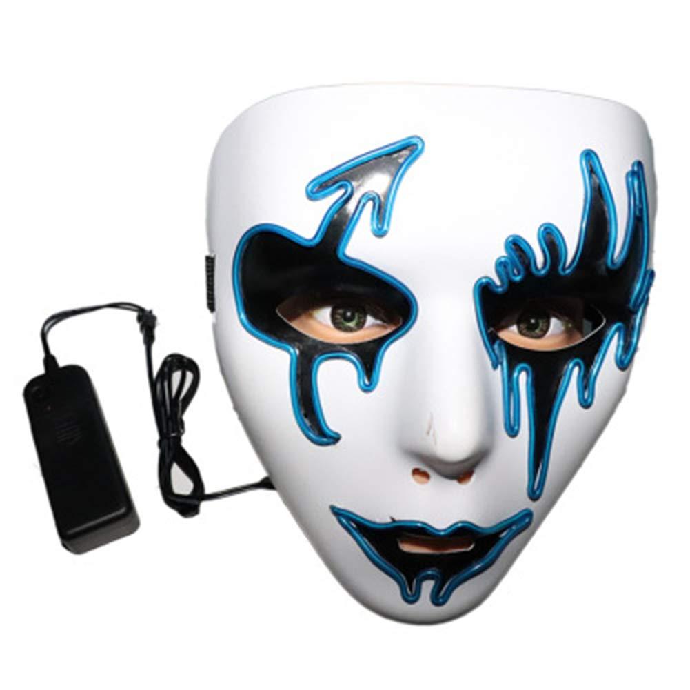 Qys Leuchtende Maske Kaltes Licht Komisch Maskerade Halloween Performance LED-Licht Vollgesichtsmaske Mehrere Farben (Zufällige Farbe)