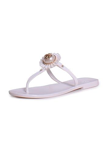 Tory Burch Melody Plastic Thong Sandal (8, White)