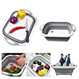 Collapsible Cutting Board with Dish Tub | Basket with Draining Plug | Collapsible Colander and Dish Sink Tub Storage Basket - 3 in 1 Multifunction Kitchen Kit