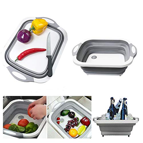 Collapsible Cutting Board with Dish Tub | Basket with Draining Plug | Collapsible Colander and Dish Sink Tub Storage Basket - 3 in 1 Multifunction Kitchen Kit from XIAOYU