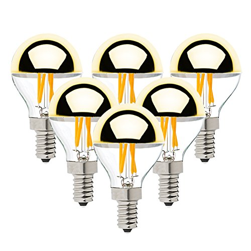 (G45 4W Vintage LED Filament Light Bulb,Half Chrome Golden Mirror Top Light Bulb,Energy Saving Warm White 2700K, E12 Candelabra Base, 40 Watt Equivalen,Non-dimmable,6Pack )