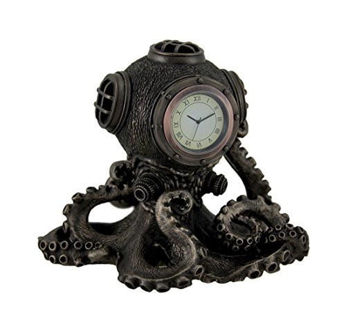 Resin Desk Clocks Bronze Finish Steampunk Octopus Diving Bell Clock Statue 6.25 X 6 X 5 Inches Bronze