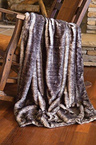 (Faux Fur Throw Blanket, Dark Gray-tipped Fox Fur)