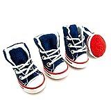 smalllee_lucky_store Girls Boys Summer Denim Canvas Lace up Sneaker Dog Booties, Medium, Blue