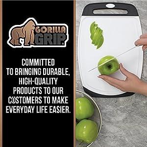 The Original GORILLA GRIP (R) Set of 3 Reversible Cutting Boards, BPA Free, Dishwasher Safe, Extra Large (Set of 3: Red)