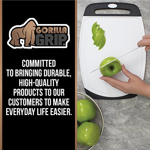 GORILLA GRIP Original Reversible Cutting Board (3-Piece), BPA Free, Dishwasher Safe, Juice Grooves, Larger Thicker Boards, Easy Grip Handle, Non-Porous, Extra Large, Kitchen (Set of Three: Gray) by Gorilla Grip (Image #3)