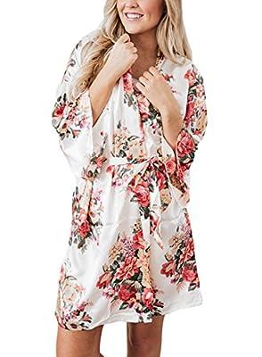 Bdcoco Women's Floral Print Silky Kimono Short Bridesmaid Robes