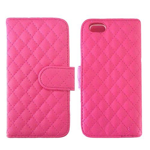 E8Q a prueba de choques de la PU del tirón del cuero de la tarjeta magnética del caso del titular de la cartera Caja protectora para iPhone 6S Rosa