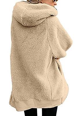 HSRKB Women's Oversized Zip Up Hoodie Sherpa Pullover Fleece Jacket Winter Coats