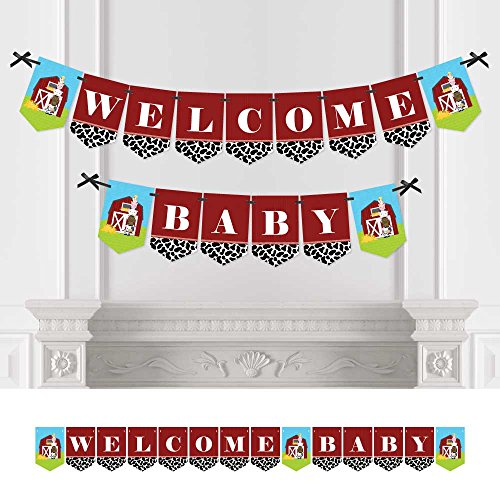 Farm Animals - Baby Shower Bunting Banner - Barnyard Party Decorations - Welcome Baby (Welcome Farm)