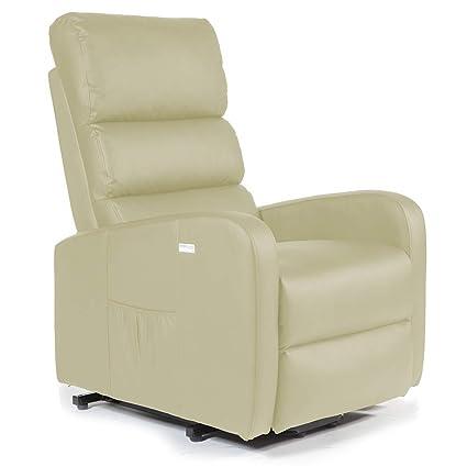 SHU Sillón Relax Levantapersonas con función elevación y reclinación eléctrica, Masaje, Calor Lumbar y vibración por Andulación, ...