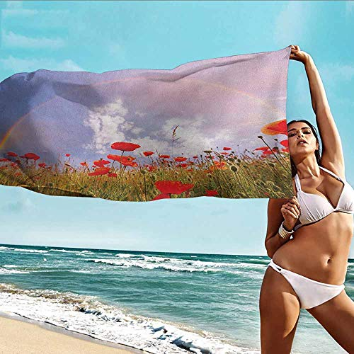 TT.HOME Beach Bath Towel,Poppy Meadow with Poppies and Rainbow Reflection in Air Magical Sky Happiness Concept,Polyester Fabric Bath Towel,W40x20L, Red Green Blue
