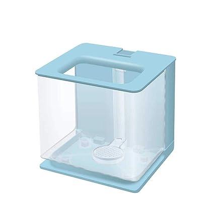Suna Acuario De Escritorio Mini Plástico Creativo Ecológico Agua Libre Lazy Goldfish Tanque (Azul)