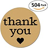 Pack of 504 Kraft Thank You Sticker Labels with Black Hearts, 1 Inch Round