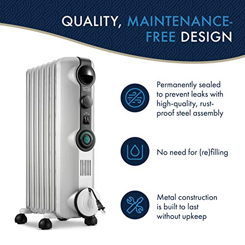 De'Longhi Oil-Filled Radiator Space Heater, Quiet 1500W, Adjustable Thermostat, 3 Heat Settings Energy Saving, Safety Features, Nice for Home with Pets/Kids, Light Gray - Comfort Temp