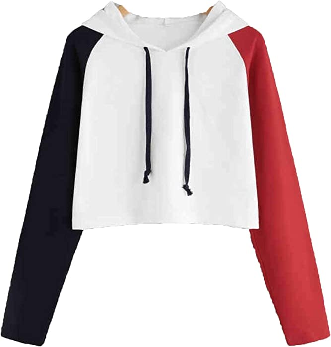 76359cd5932 Women's Fashion Long Sleeve Pullover Short Hoodie Color Block Loose Casual  Crop Tops Sweatshirt with Drawstring