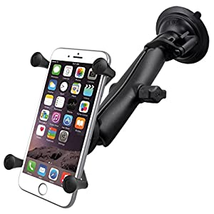 RAM Twist Lock Suction Cup Mount with LONG Length Double Socket Arm & Universal X-Grip Phablet Holder