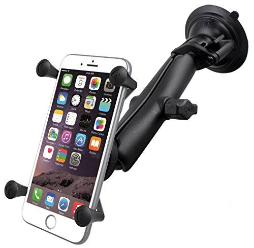 RAM Twist Lock Suction Cup Mount with Long Length Double Socket Arm & Universal X-Grip Phablet Holder ()