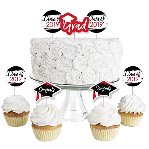 Red Grad - Best is Yet to Come - Dessert Cupcake Toppers - Red 2019 Graduation Party Clear Treat Picks - Set of 24