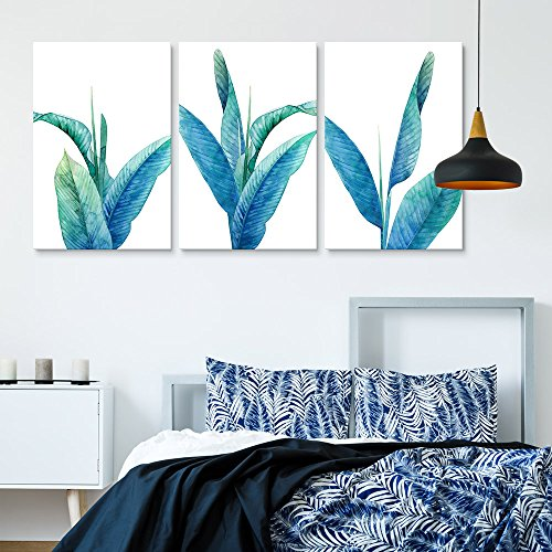 3 Panel Blue Leaves of Tropical Plants x 3 Panels