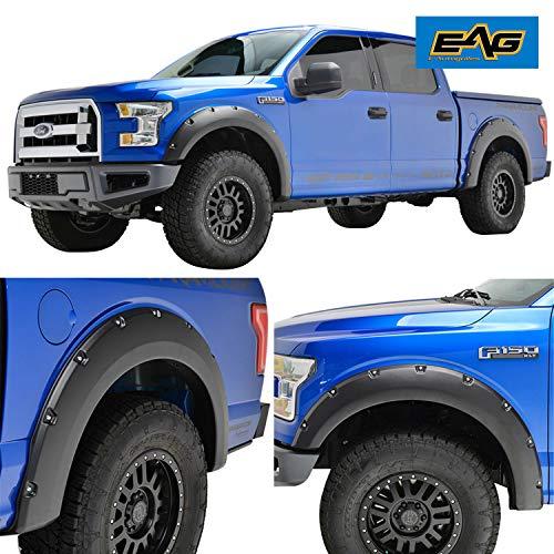 EAG Front & Rear Fender Flares Fit for 15-17 Ford F-150 - Matte Black Pocket Rivet Style 4pcs