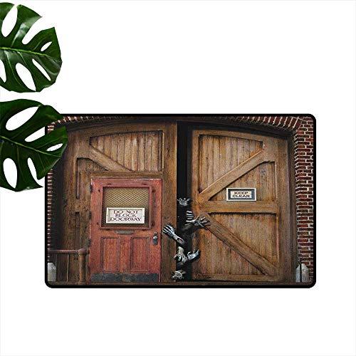 RenteriaDecor Zombie,Home Doormat Monsters Behind Wooden Door Demon Halloween Holiday Fear Fantasy Picture 18
