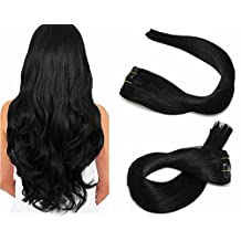 SeaShine Clip in Hair Extensions Double Weft 100% Remy Human Hair Silky Straight Grade 7A Full Head Weft Remy Hair for Women(15 Inch #1 Jet Black 7pcs 16clips 70g)