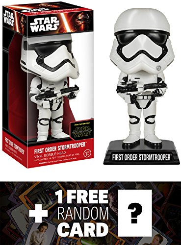 Star Wars First Order Stormtrooper: Wacky Wobbler x The Force Awakens Bobble-Head Vinyl Figure + 1 Free Official Trading Card Bundle ()