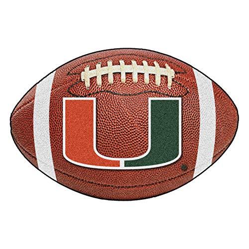 FANMATS NCAA University of Miami Hurricanes Nylon Face Football Rug