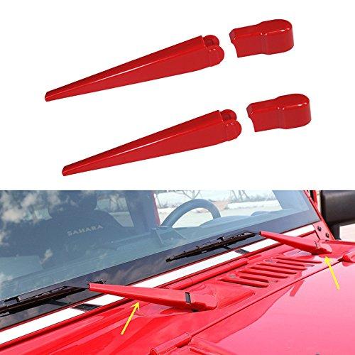 Jeep Windscreen - AVOMAR Front Rain Windscreen Window Wiper Arm Cover Trim For 2007 - 2017 Jeep Wrangler JK (red)