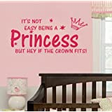 1 X NOT EASY BEING A PRINCESS girl wall quote sticker graphic vinyl home kid decor