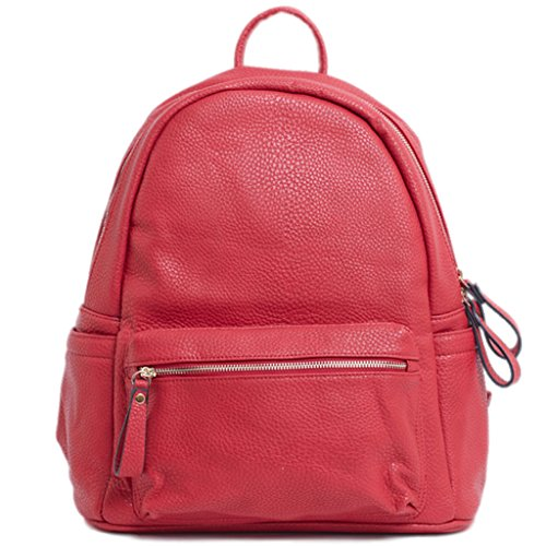 Satchel Unisex Pack for Black Travel Holidays Leather Day Classic Red Backpack Durable and Double Laptop Designer Front Square Shoulder LS Leisure School Lightweight with Bag Bags PU Pocket Retro nZOgApnwWx