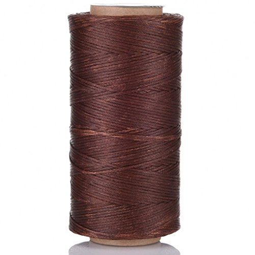(Selric [24 Colors Available] 210D 1mm 196Yards Flat Waxed Thread Hand Stitching Cord Leather Craft Tool Leather Stitching Sewing (Coffee))