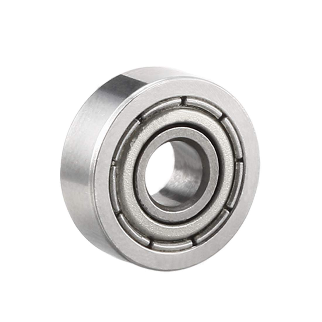 sourcing map 604ZZ Deep Groove Ball Bearing Double Shield 604-2Z 80014, 4mm x 12mm x 4mm Chrome Steel Bearings (10-Pack)