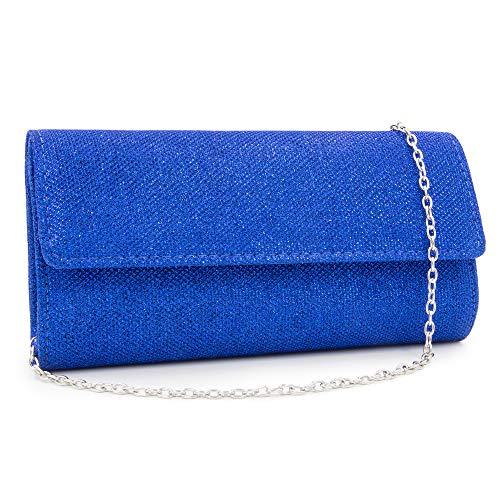 HEKATE Women Clutches Glitter Clutch Purse Elegant Evening Bags Shoulder bag (Blue) by HEKATE