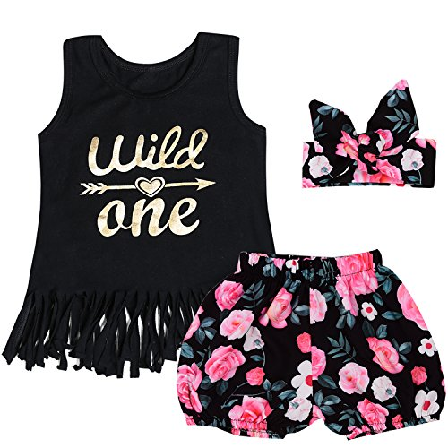 Baby Girls Floral Outfit Set Wild One 3Pcs Vest Dress with Headband (12-18 Months, Black04)