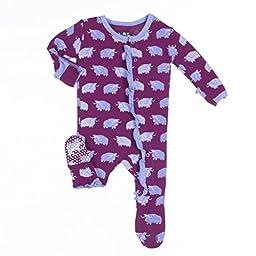KicKee Pants Baby Girls Print Ruffle Footie Prd-Kprd908-Mymo, Melody Musk Ox, 0-3 Months