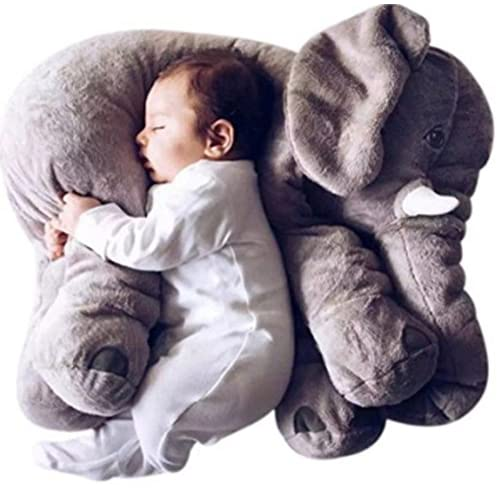 Jysport Elephant Taie d'oreiller bébé en peluche Jouets en peluche Animal sommeil Coussin enfants Confort veille jouet