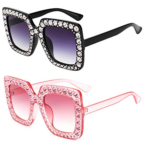 ROYAL GIRL Sunglasses Women Oversized Square Crystal Brand Designer Shades (Black-Pink 2 Pack, -