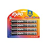 Office Products : EXPO Dry Erase Markers with Ink Indicator, Chisel Tip, Black, 4 Pack
