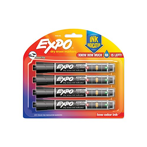 EXPO Dry Erase Markers with Ink Indicator, Chisel Tip, Black, 4 Pack