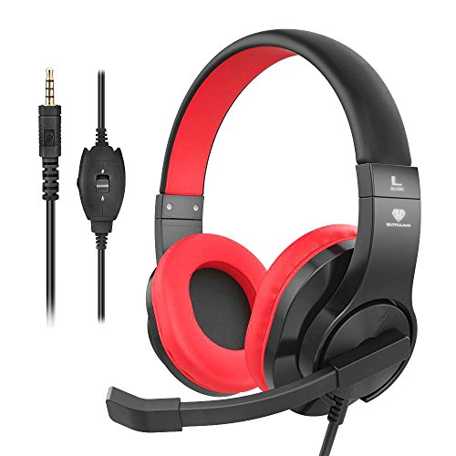 200 Stereo Earphone - Headset Gaming for PS4 ,Xbox One Controller ,Wired Noise Isolation, Over-Ear Headphones with Mic ,Stereo Gamer Headphones 3.5mm, Earphone for Laptop, Mac, PC (Red)