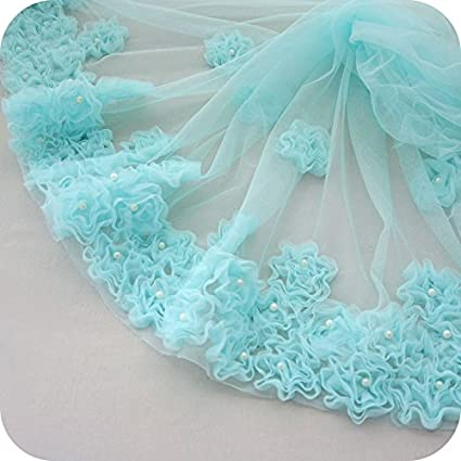 IRIZ 25 inches Width Beaded Flowers Lace Fabric Dress Edging Lace Trim by The Yard Blue