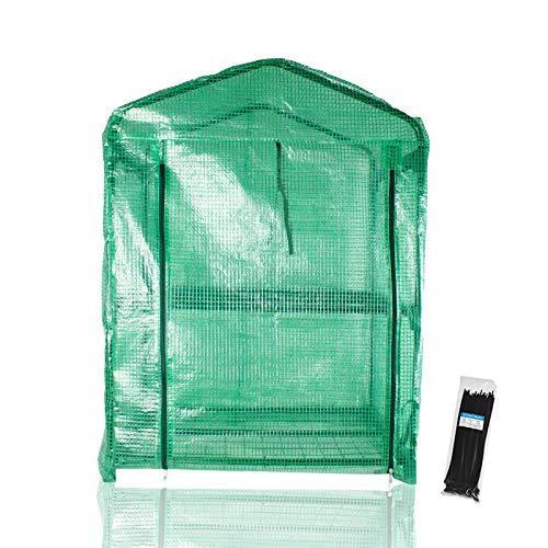 AITREASURE ミニ 温室 ビニール 2段ビニールハウス 家庭用 簡易温室 小型 花園温室 丈夫 家庭用園芸ラック 寸法: 69 cm(L)x 49 cm(W)x 92 cm(H)